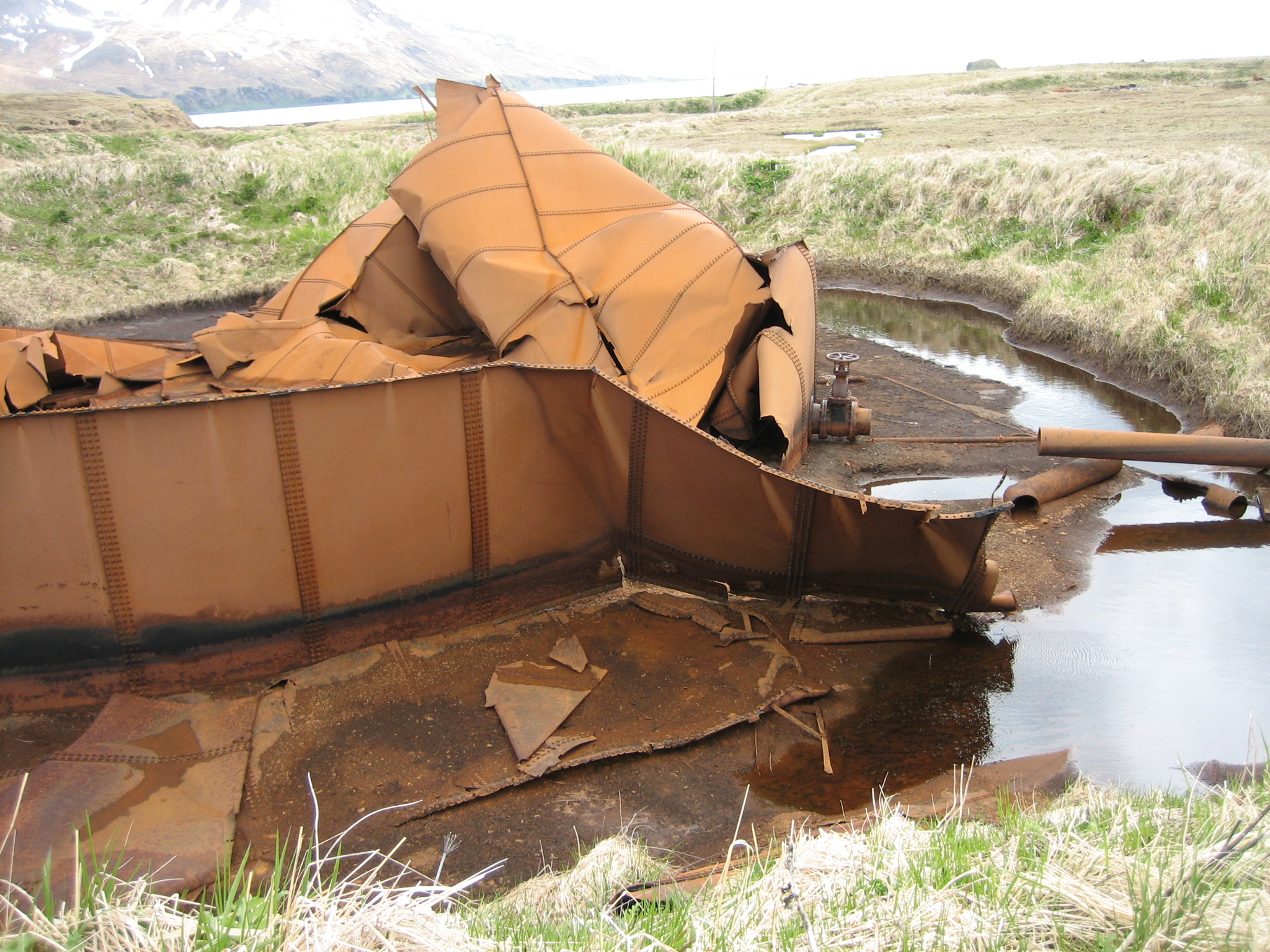 A large fuel tank on Attu