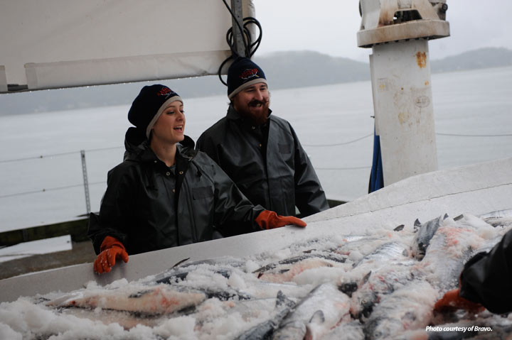 Top Chef chef contestants check out fresh salmon unloaded at Alaska Glacier Seafoods. Photo courtesy of Bravo TV.