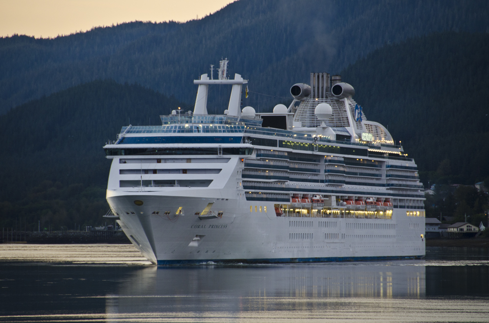 The Coral Princess Cruise ship prepares to dock in Juneau.