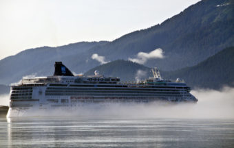 A cruise ships heads out of Juneau's harbor last summer. (Photo by Heather Bryant/KTOO)