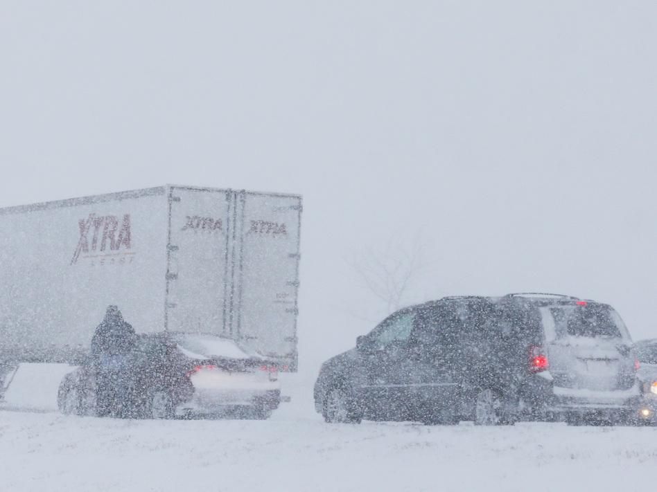 Snowy scene along I-35 near Kansas City on Thursday. Orlin Wagner/Associated Press