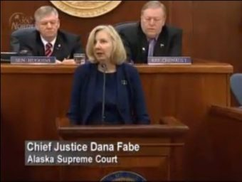 Chief Justice Dana Fabe addresses a joint session in Juneau on Feb. 13, 2012. (Image courtesy Gavel Alaska)