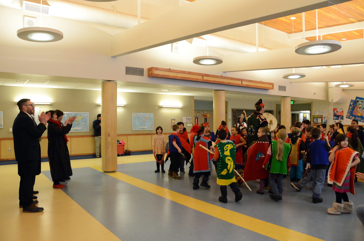 Visitors from the Kennedy Center a group of students perform a Tlingit dance at Glacier Valley Elementary.