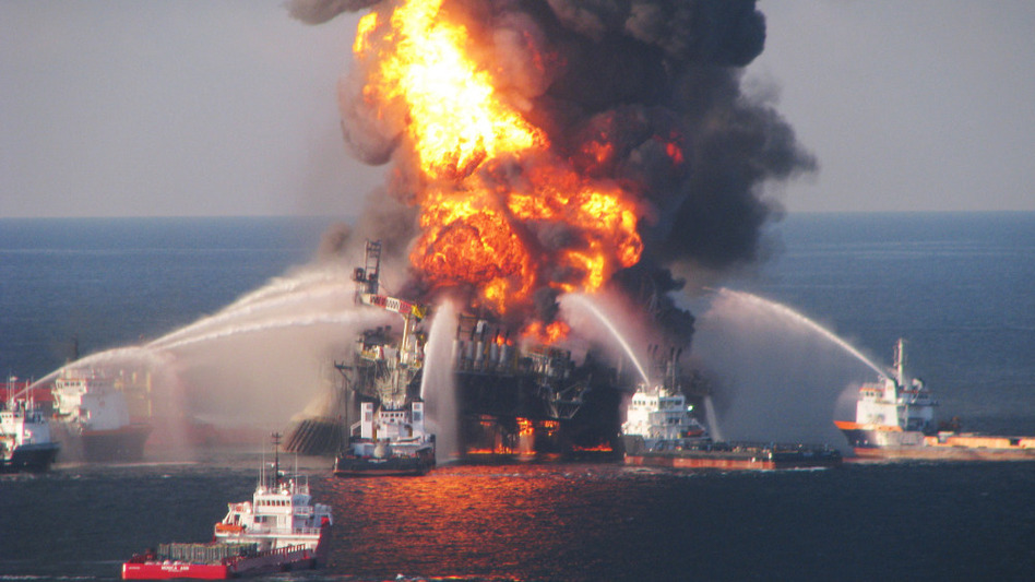 The Deepwater Horizon oil rig burned on April 21, 2010. U.S. Coast Guard/Getty Images