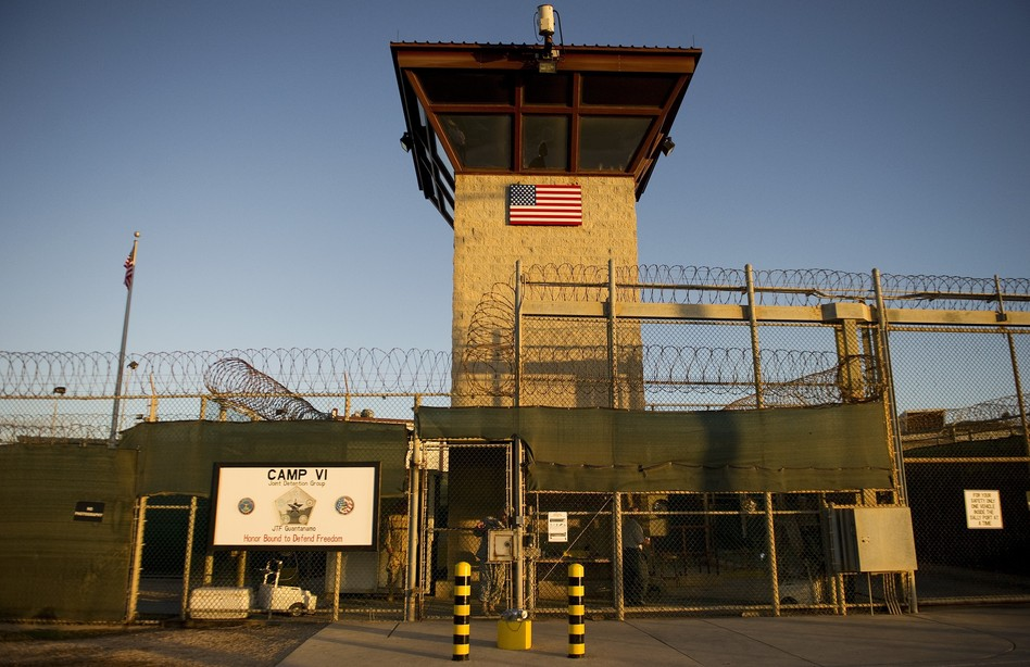 "This image reviewed by the U.S. military shows the front gate of ""Camp Six"" detention facility of the Joint Detention Group at the US Naval Station in Guantanamo Bay, Cuba. Jim Watson/AFP/Getty Images"
