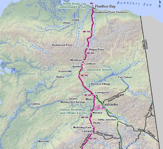 Alaska Standalone Pipeline route proposed by the Alaska Gasline Development Corporation. (Image courtesy The Alaska Gasline Development Corporation (AGDC)