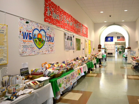 Some of the many cards, letters and artwork sent to Newtown from all over the world was on display at the Newtown Municipal Center on Jan. 30. The items were recently moved to temporary storage. Courtesy of Ross MacDonald