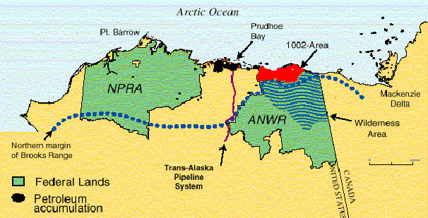 Map of Northern Alaska and Northwestern Canada Showing the Locations of the National Petroleum Reserve-Alaska (NPR-A), Arctic National Wildlife Refuge (ANWR), 1002 Area, Current Productive Area, and Trans-Alaska Pipeline System (TAPS)