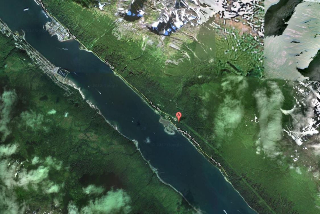 Map: Sheep Creek is south of Juneau, along Thane Road.