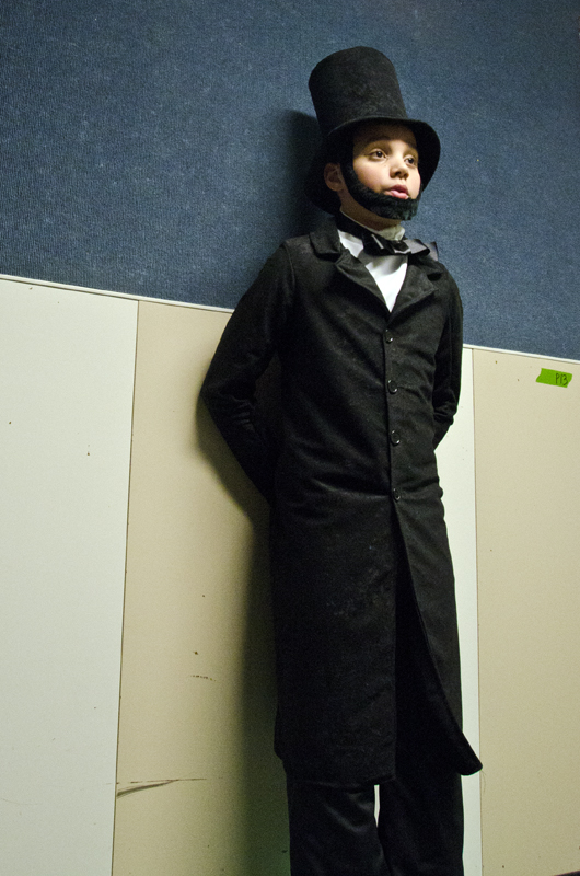 "Kamron Falls,11, chose to become Abraham Lincoln because he was a ""really cool person."" (Photo by Heather Bryant/KTOO)"