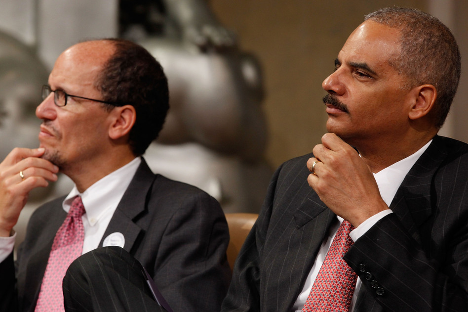 Attorney General Eric Holder (R) and Assistant Attorney General for the Civil Rights Division Thomas Perez in 2010 in Washington, D.C. Chip Somodevilla/Getty Images