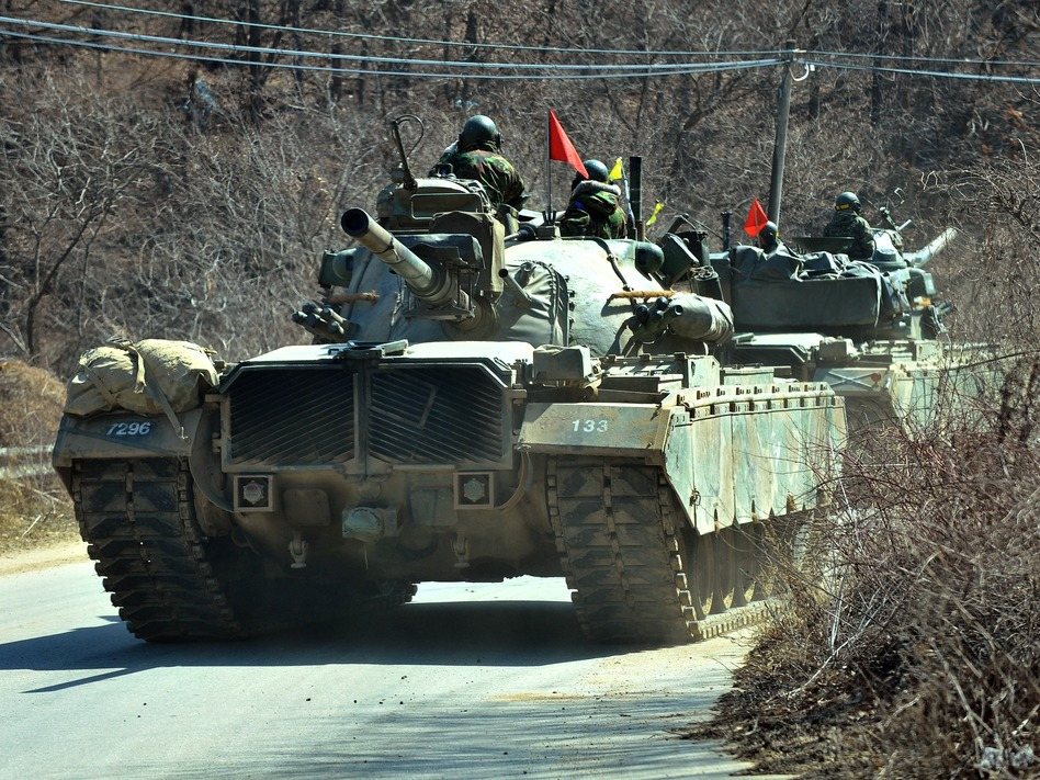 South Korean army tanks during military training in the border city of Paju on Friday. Jung Yeon-je/AFP/Getty Images