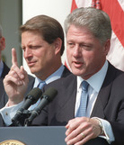 Former President Bill Clinton (and then-Vice President Al Gore) in 1996, the year Clinton signed the Defense of Marriage Act. Stephen Jaffe /Reuters /Landov