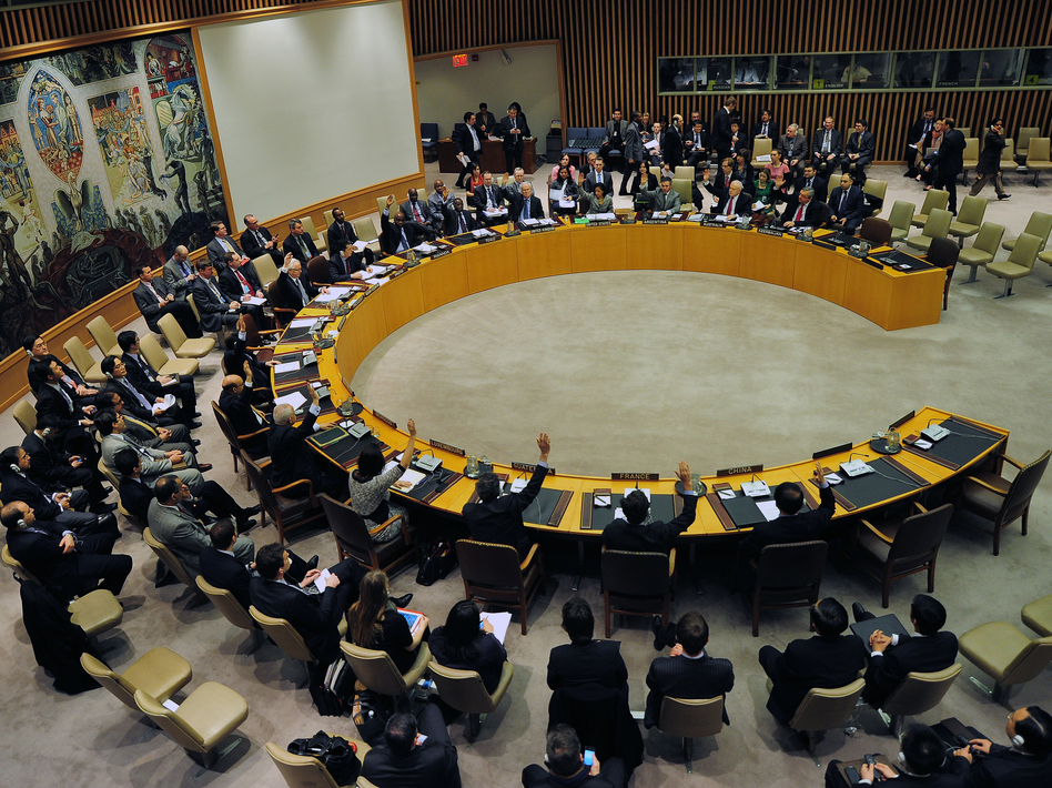U.N. Security Council members vote to adopt sanctions against North Korea on Thursday. Emmanuel Dunand/AFP/Getty Images