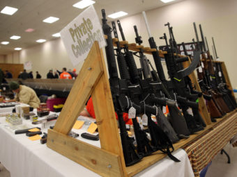 Guns on display at a show in Fort Wayne, Ind., last month. Brian Cassella /MCT /Landov
