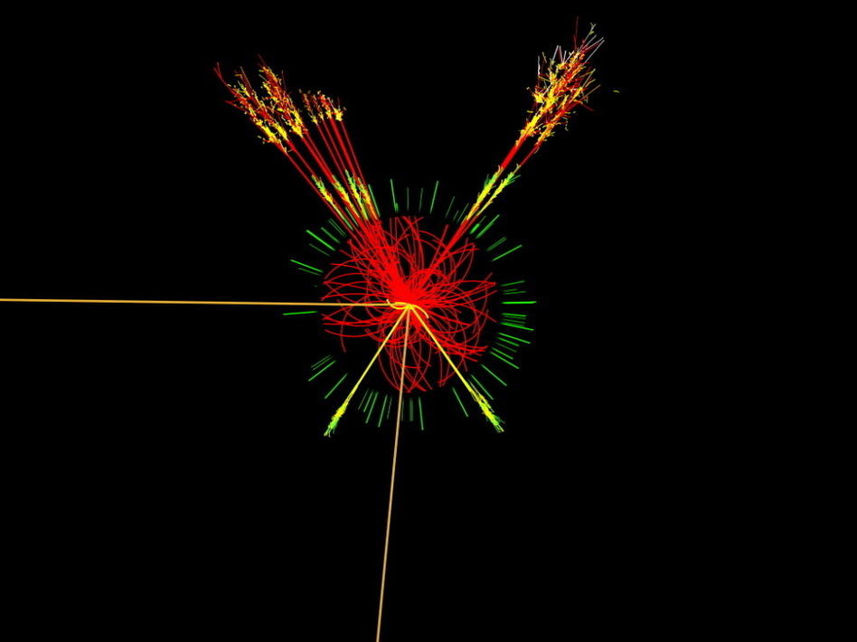 This is what researchers at the ATLAS detector at the Large Hadron Collider expect a Higgs boson to look like. The Higgs boson is the subatomic particle that scientists say gives everything in the universe mass. ATLAS Experiment/CERN