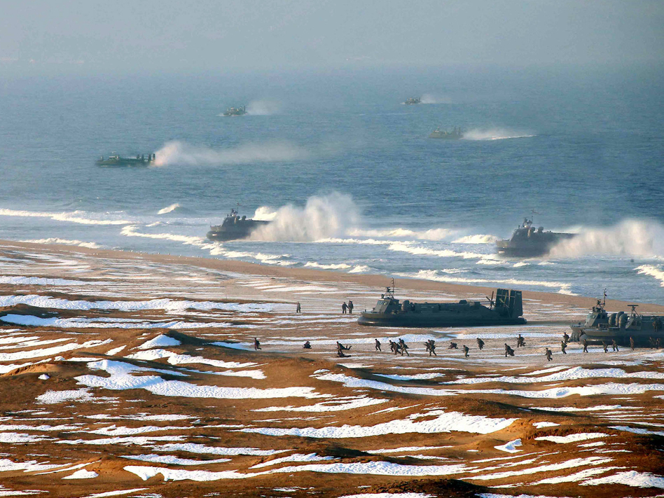 "North Korean ""landing and anti-landing drills"" are shown in a photo released Tuesday. KCNA/AFP/Getty Images"