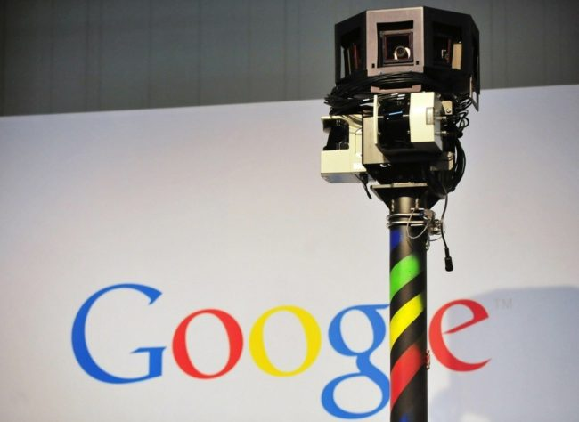 The camera mounted on a Google Street View car used to photograph whole streets obscures part of the U.S. Internet giant's logo. Daniel Mihailescu/AFP/Getty Images