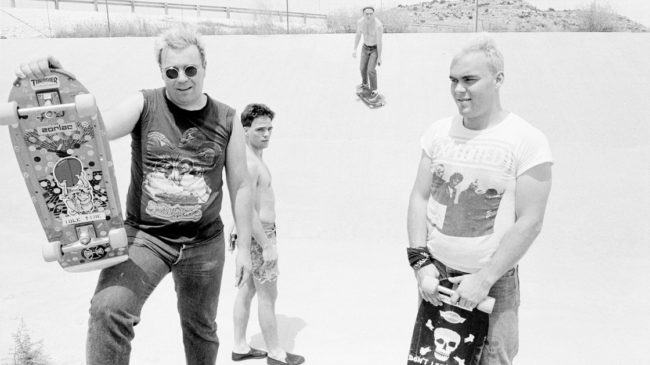 "Big Boys in West Texas on the way to California in 1982. Randy ""Biscuit"" Turner is at the left, Chris Gates at the right, and Tim Kerr at the back. Bill Daniel/Courtesy of Light in the Attic Records"