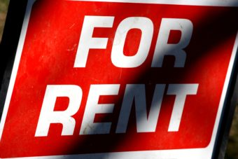 A For Rent sign.