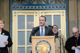 DNR Commissioner Dan Sullivan led the Juneau rally. (Photo by Heather Bryant/KTOO)
