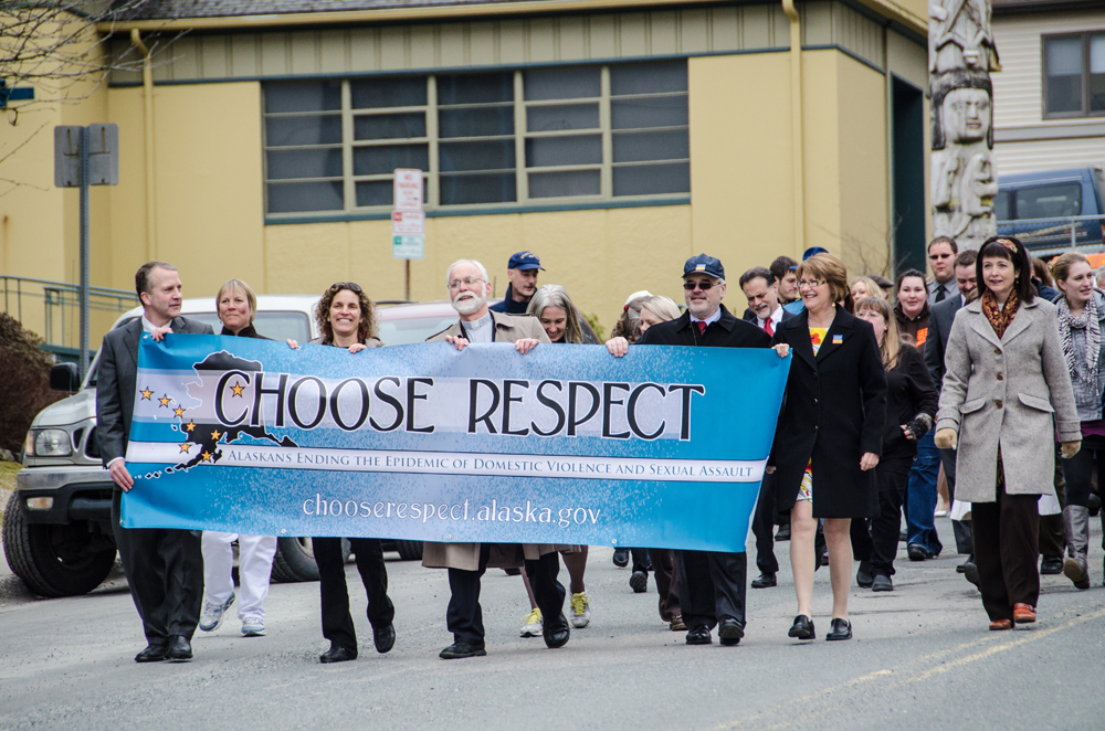 The march down Main Street during the 2013 Choose Respect rally. (Photo by Heather Bryant/KTOO)