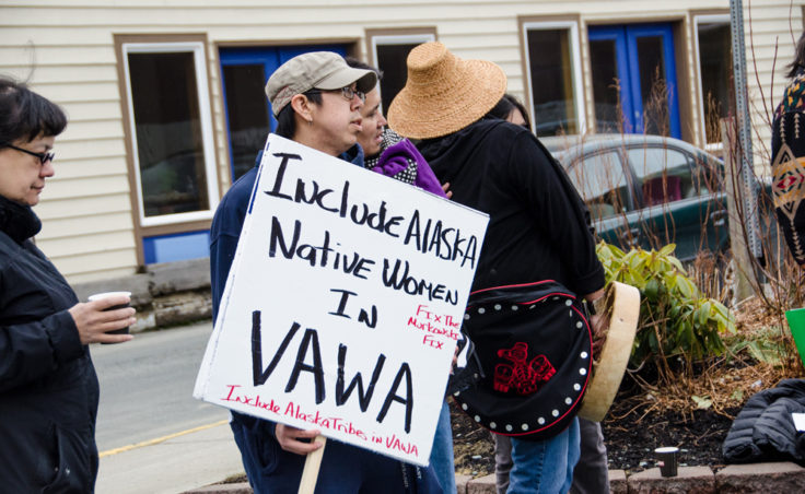 The group handed out letters asking Governor Parnell to speak with Alaska's congressional delegation to fix VAWA. (
