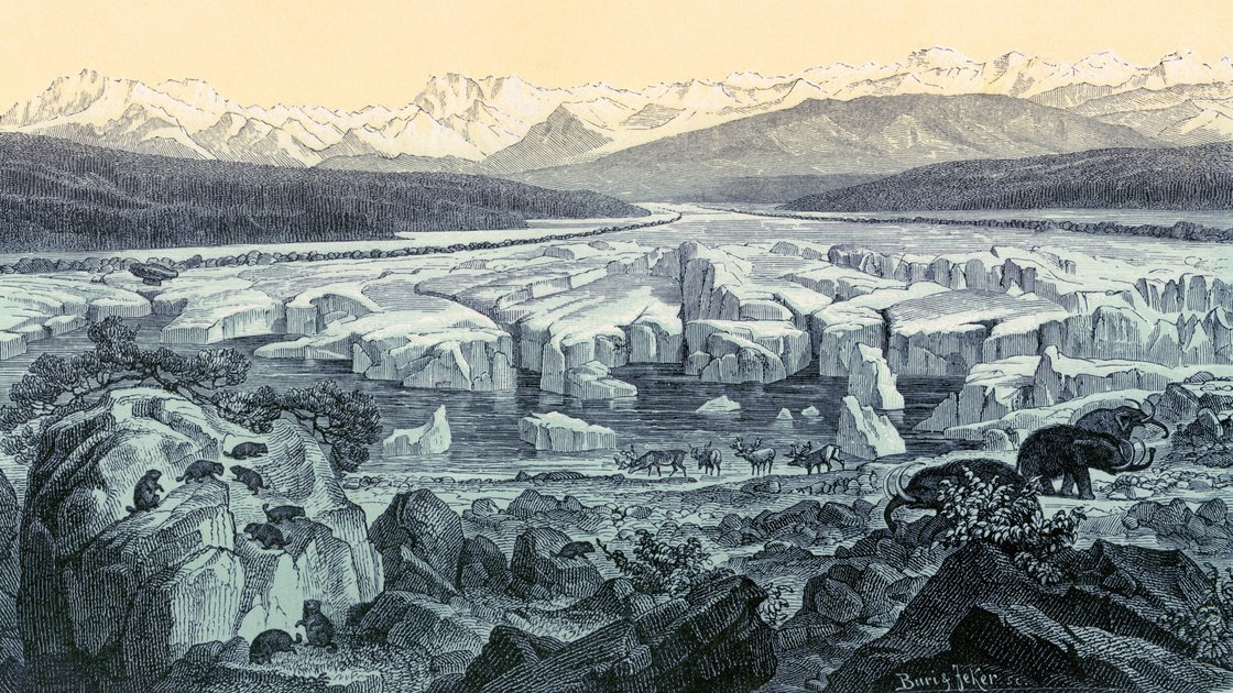 Scientists say they have put together a record of global temperatures dating back to the end of the last ice age, about 11,000 years ago. This historical artwork of the last ice age was made by Swiss geologist and naturalist Oswald Heer. Oswald Heer/Science Source