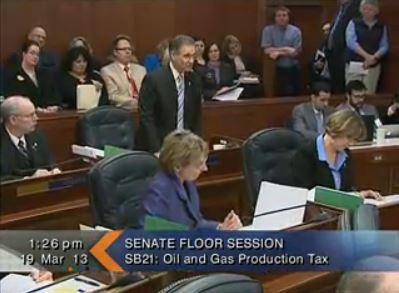 Senator Kevin Meyer discusses the oil tax bill in the Senate.