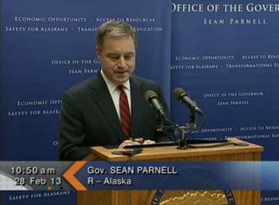 Governor Sean Parnell at Thursdays' Press Conference.