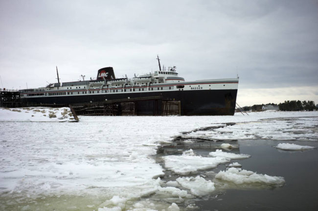 The nation's last coal-burning ferry, the SS Badger, sits on Lake Michigan in the port town of Ludington, Mich. The EPA permit that has long allowed the ship to dump coal ash into the lake is now under review. Courtesy photo for NPR