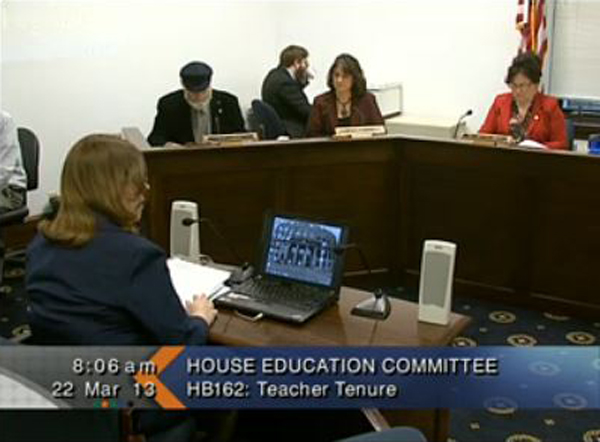 Tammie Wilson speaks at last Friday's hearing on tenure.