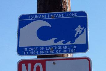 A Tsunami hazard zone warning sign.