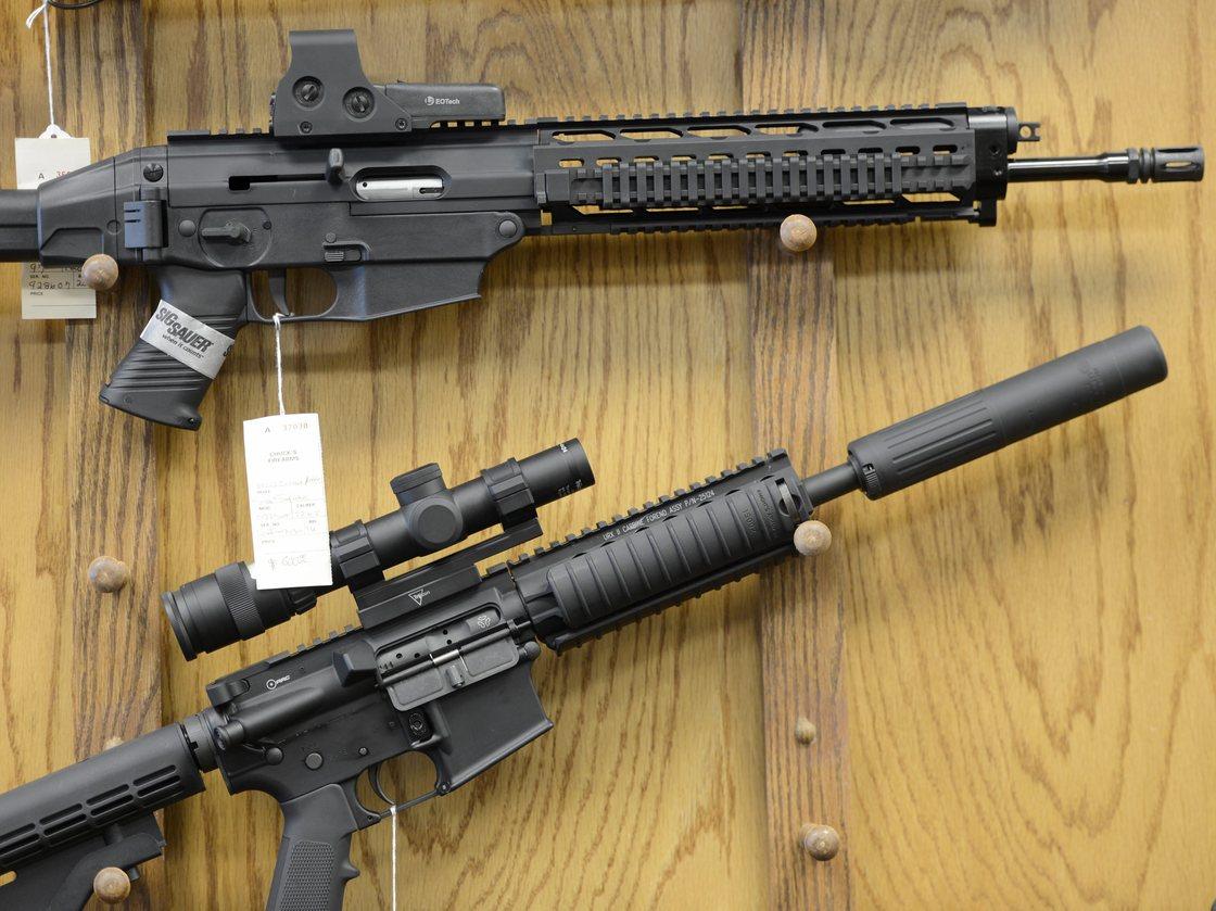 Assault-style rifles on display at Chuck's Firearms gun store in Atlanta. Erik S. Lesser /EPA /Landov