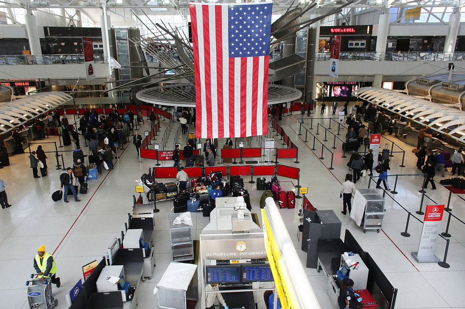 People wait in a security line at John F. Kennedy Airport on February 28, 2013 in New York City. Spencer Platt/Getty Images