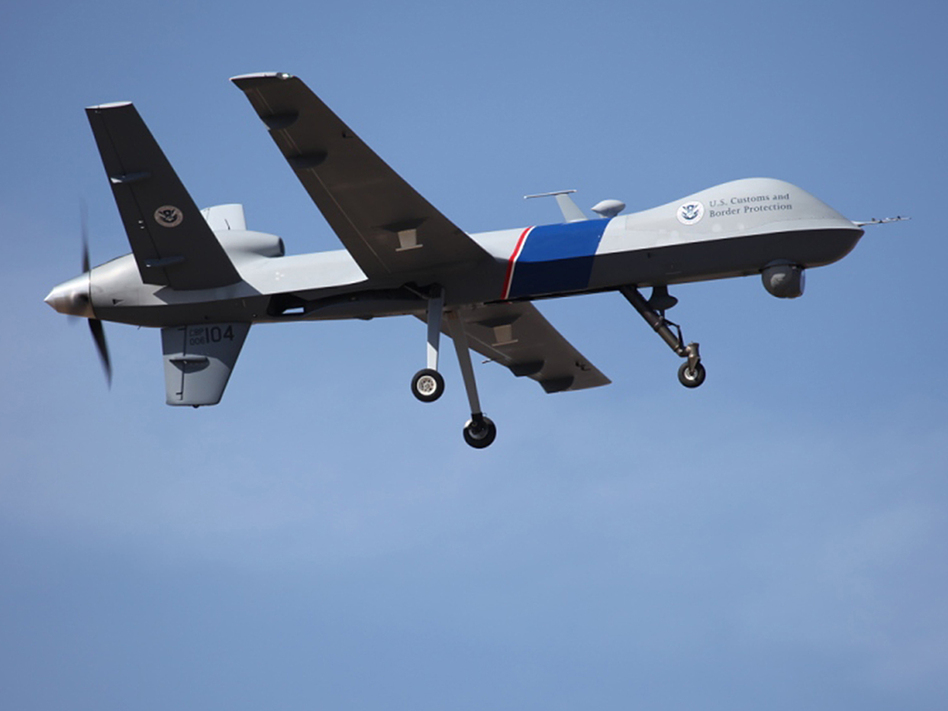"An unmanned drone patrols the U.S.-Canadian border. Attorney General Eric Holder, in a letter to Sen. Rand Paul, R-Ky., said the president could in an ""extraordinary circumstance"" order a drone strike inside the country. U.S. Customs and Border Protection /AP"