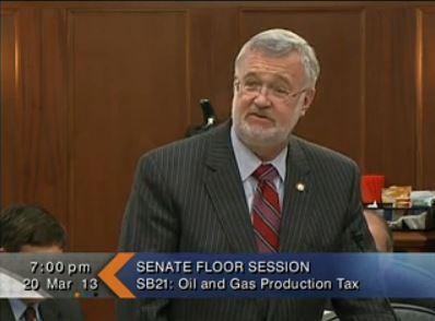 Sen. Gary Stevens speaking at last night's floor session.