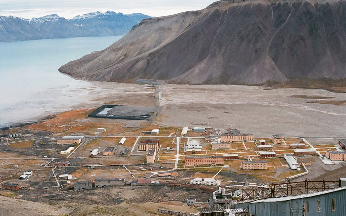 Piramida, shot from above. The ghost town, once an active Russian mining settlement, is on the island of Spitsbergen, in the archipelago of Svalbard, which is controlled by Norway. Courtesy of Efterklang