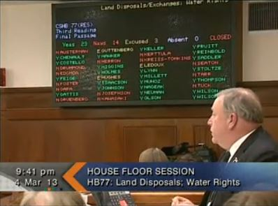 Late last night, the house voted to approve a measure altering the way water rights are processed. (Image courtesy of Gavel Alaska)