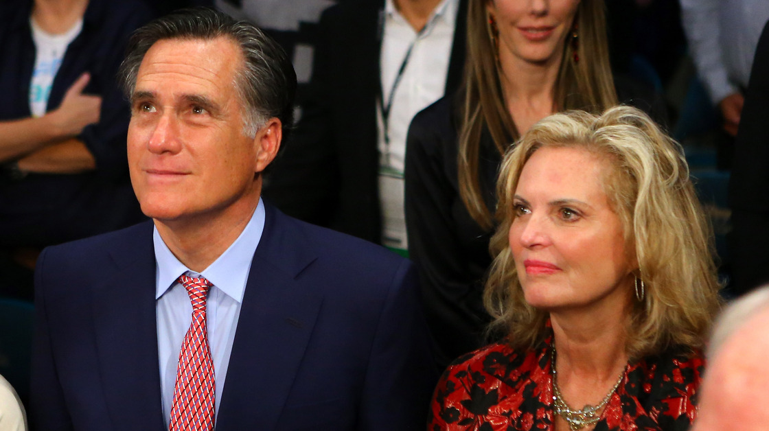 Former Republican presidential candidate Mitt Romney and wife, Ann, at the MGM Grand Garden Arena on Dec. 8, 2012, in Las Vegas. Al Bello/Getty Images