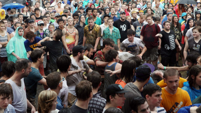 Fans in the mosh pit during the performance of Liturgy at the 2012 Pitchfork Music Festival in Union Park, Chicago, on July 14, 2012. Roger Kisby/Getty Images