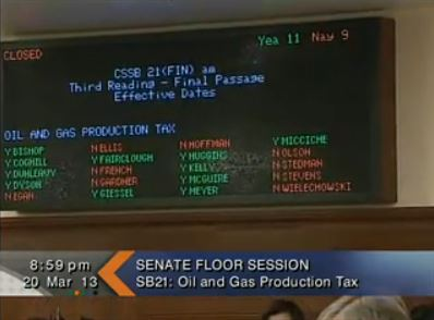 The Senate's votes on SB21. (Image courtesy Gavel Alaska)