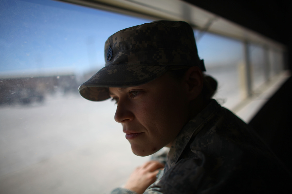 Sgt. Jessica Keown, with the 3rd Brigade, 1st Armored Division at Fort Bliss in El Paso Texas, served with a female engagement team, or FET, in Afghanistan. David Gilkey/NPR