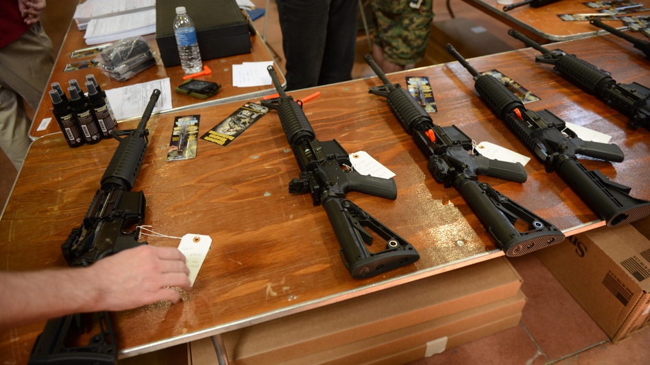 Firearms for sale at a gun show in Annapolis, Md., on April 14. Andrew Harnik /The Washington Times /Landov