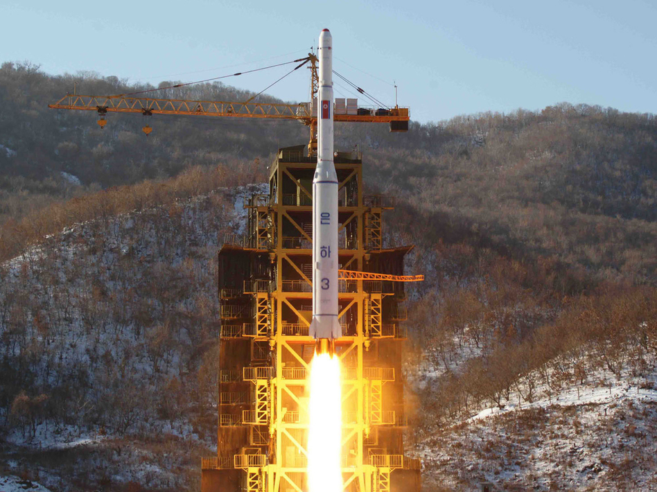 The launch of North Korea's Unha-3 rocket in December in a photo released by the official Korean Central News Agency (KCNA). AFP/Getty Images