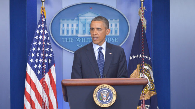 President Obama speaks on the Boston Marathon explosions on Monday at the White House in Washington, D.C. Mandel Ngan/AFP/Getty Images