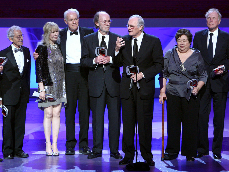 Allan Arbus on the left, with fellow M.A.S.H. stars Loretta Swit, Mike Farrell, Burt Metcalfe, Alan Alda, Kellye Nakahara Wallet and Wayne Rogers at an awards ceremony in 2009. Alberto E. Rodriguez/Getty Images