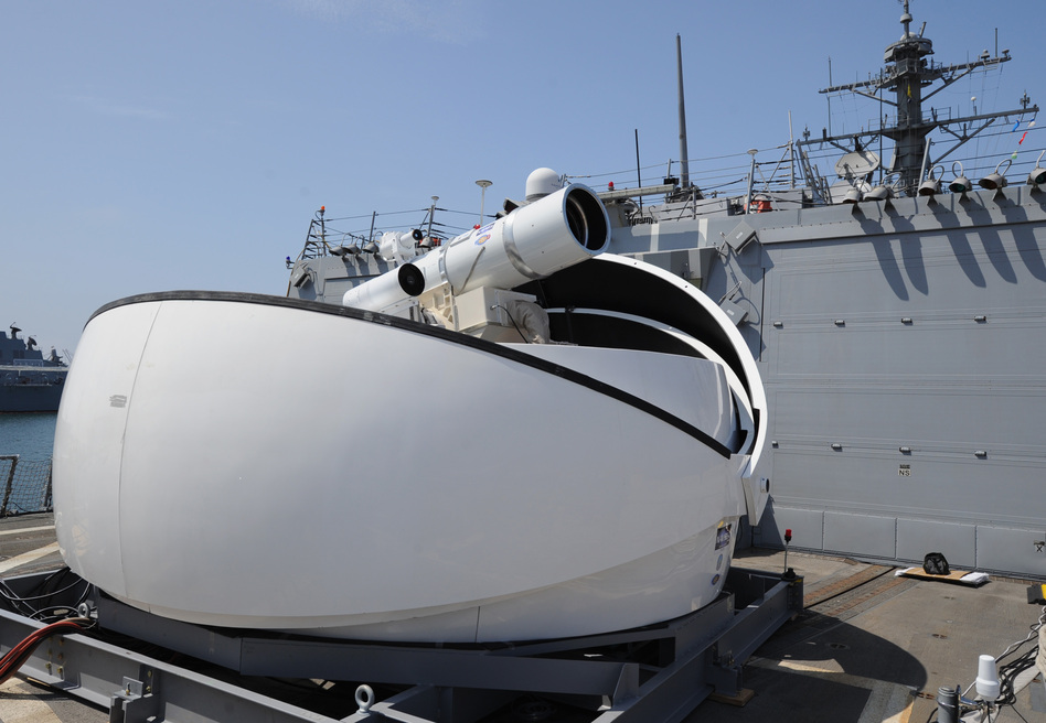 The Laser Weapon System (LaWS) temporarily installed aboard the guided-missile destroyer USS Dewey in San Diego, Calif. John F. Williams/U.S. Navy