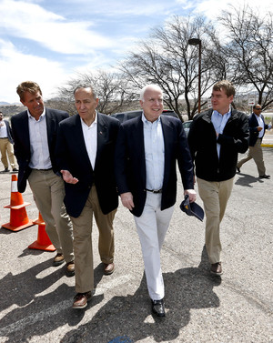 "From left, Sen. Jeff Flake, R-Ariz., Sen. Chuck Schumer, D-NY, Sen. John McCain, R-Ariz., and Sen. Michael Bennett, D-Colo, arrive at a news conference after their tour of the Mexico border with the United States on Wednesday in Nogales, Ariz. The senators are part of the ""Gang of Eight,"" a larger group of legislators collaborating on changes to immigration. Ross D. Franklin/AP"