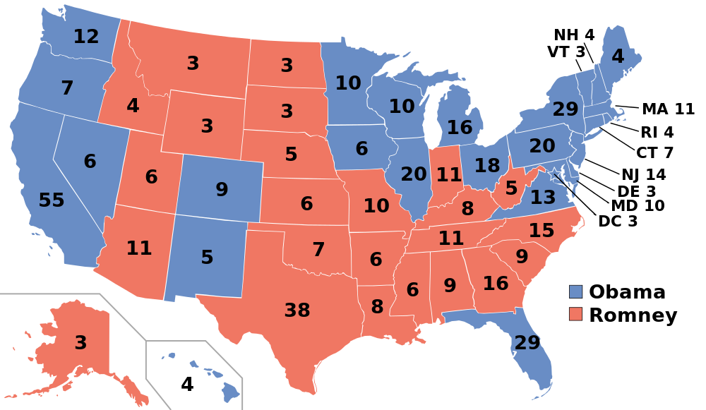 The 2012 Electoral College map.
